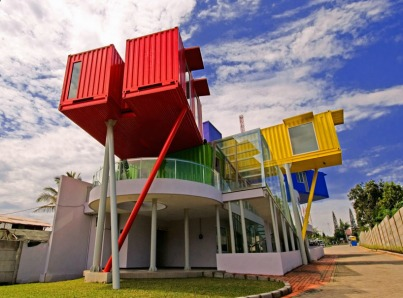 Vibrant Library made of shipping containers-0