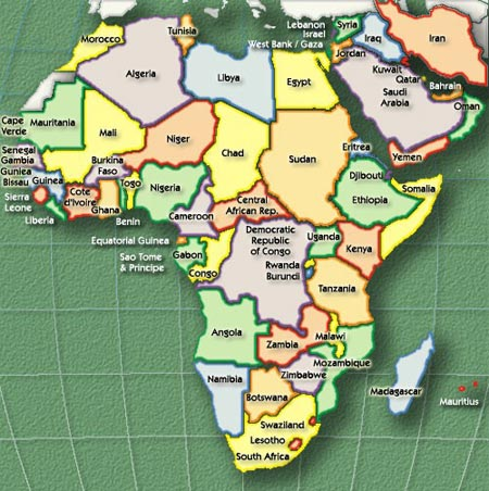 africa map with sea ports
